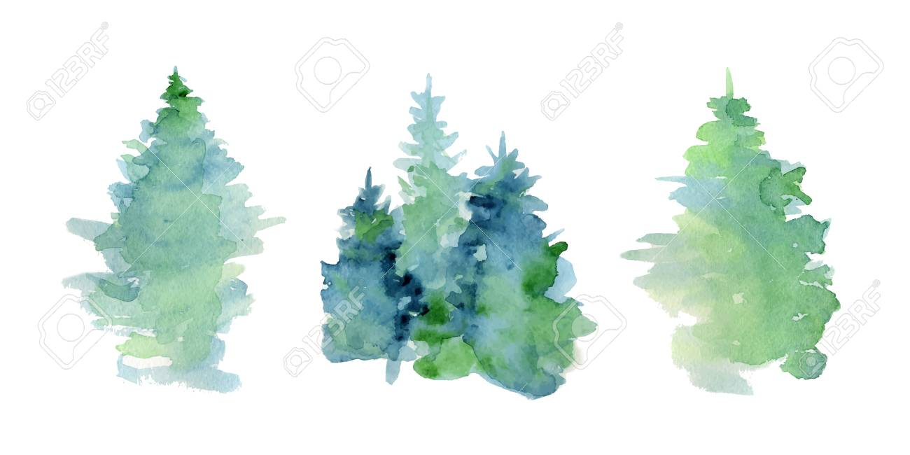 Watercolor abstract woddland, fir trees silhouette with ashes and splashes, winter background hand drawn illustration - 92348491