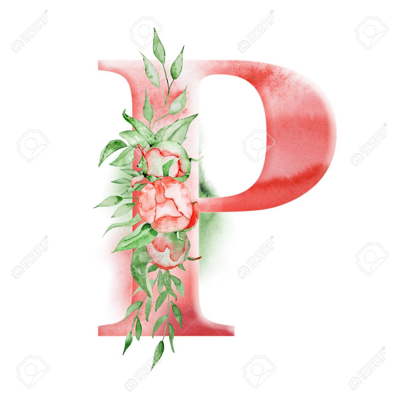 Floral Watercolor Alphabet Monogram Initial Letter P Design Stock Photo Picture And Royalty Free Image Image 95090062