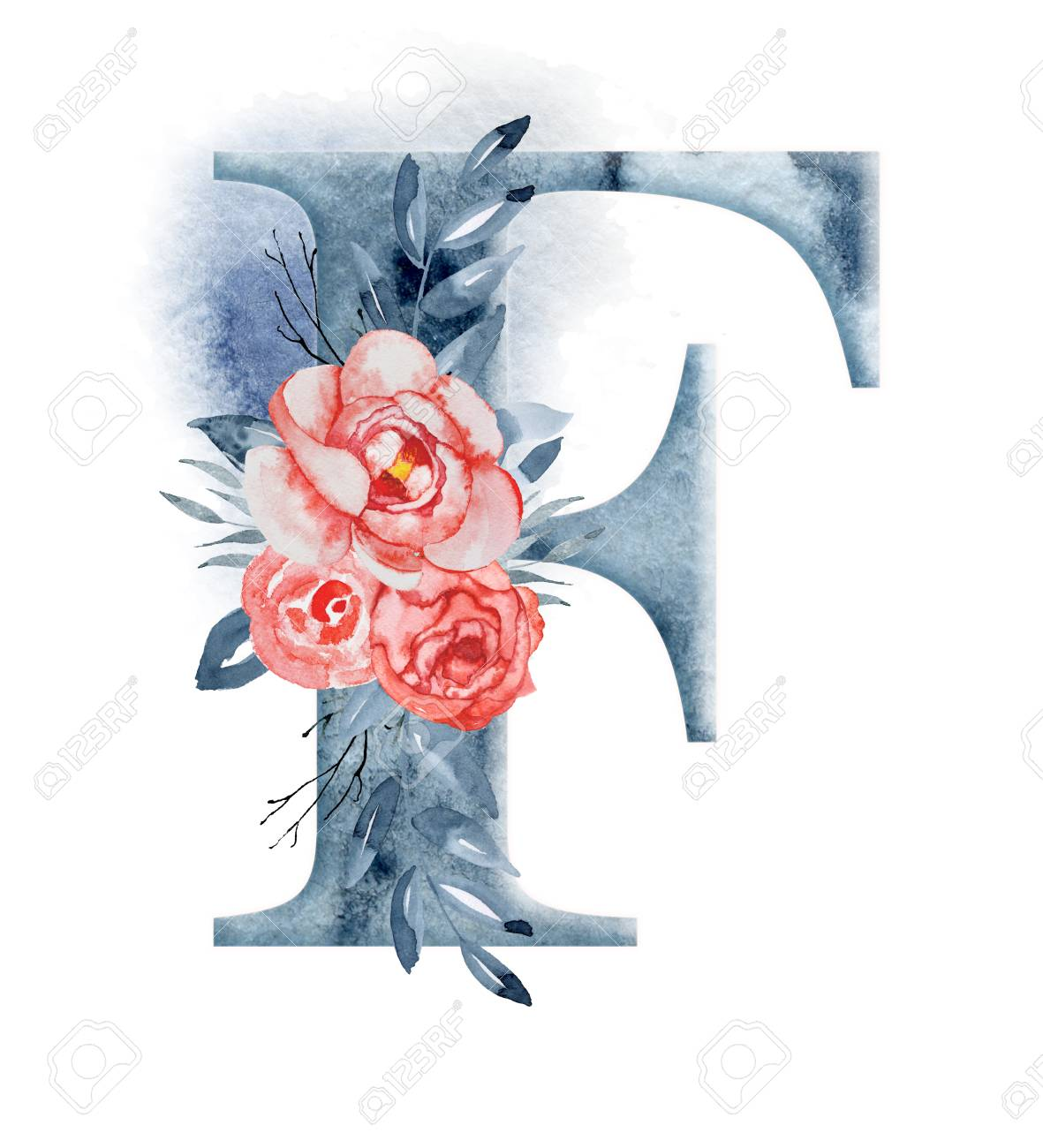 Floral Watercolor Alphabet. Monogram Initial Letter F Design
