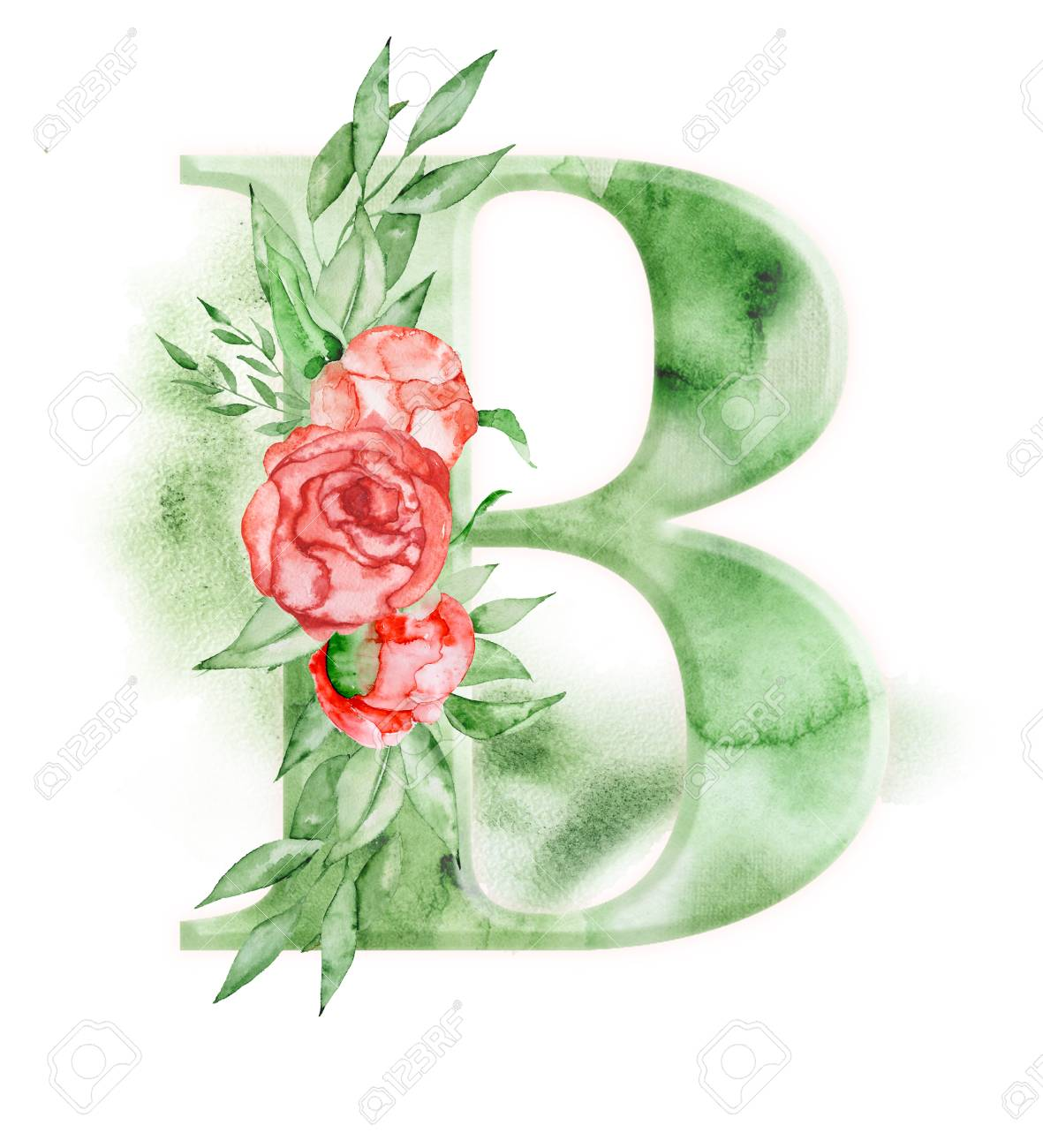 0cdb4ba69046 Floral watercolor alphabet. Monogram initial letter B design with hand  drawn peony flower for wedding