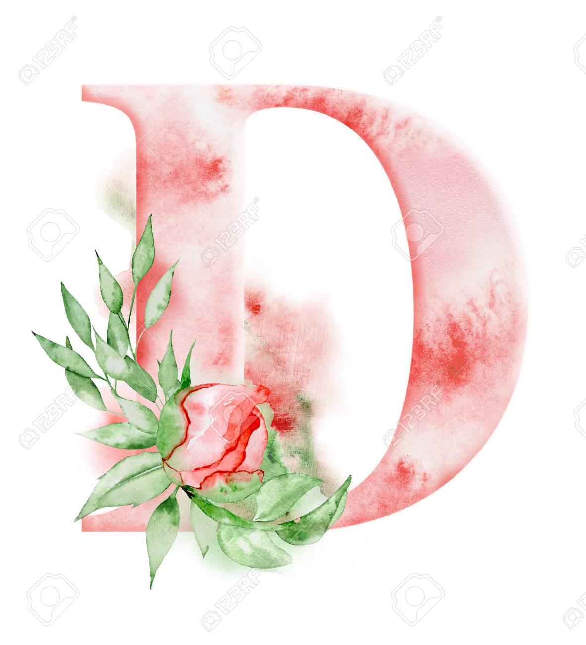 Floral Watercolor Alphabet. Monogram Initial Letter D Design