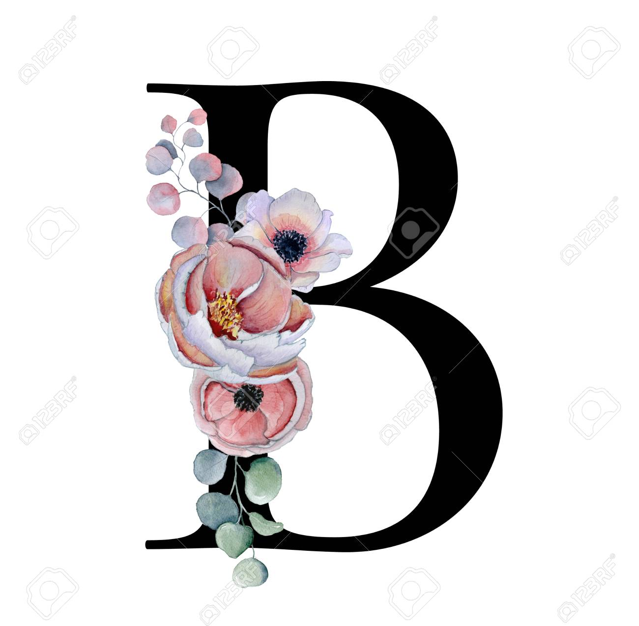 Floral Watercolor Alphabet. Monogram Initial Letter B Design