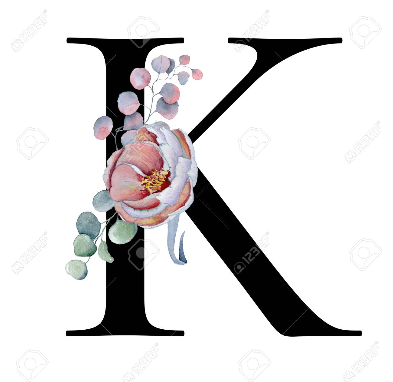 Floral Watercolor Alphabet. Monogram Initial Letter K Design