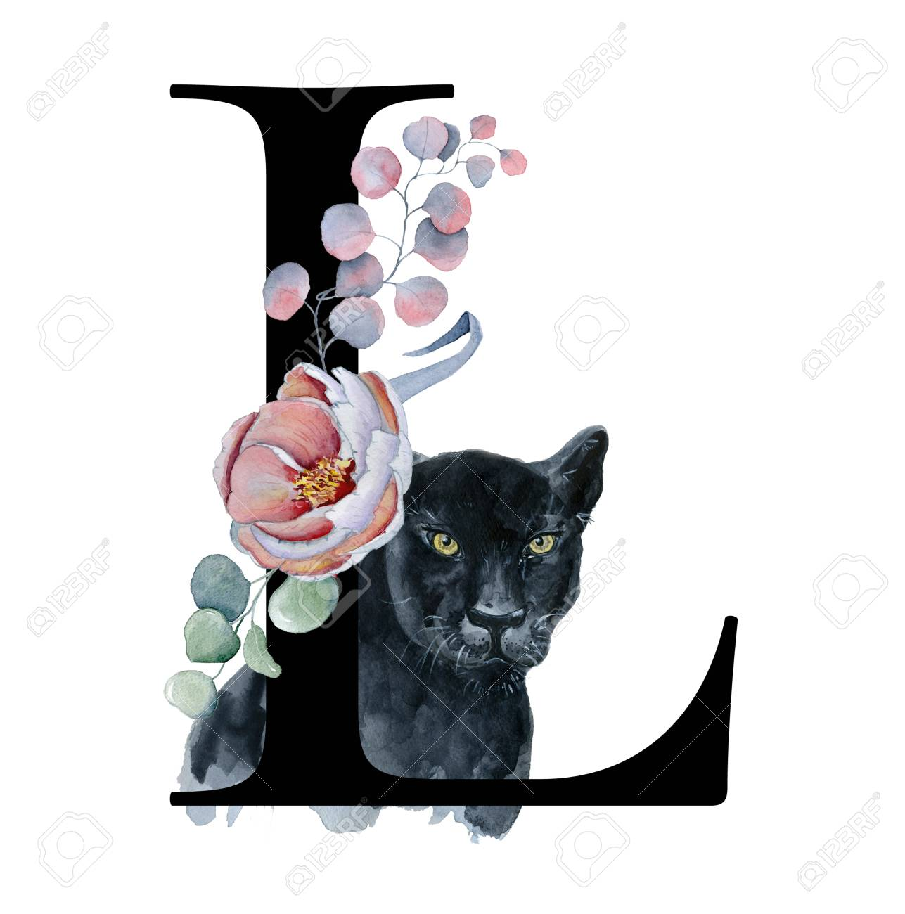 Floral Watercolor Alphabet Monogram Initial Letter L Design Stock