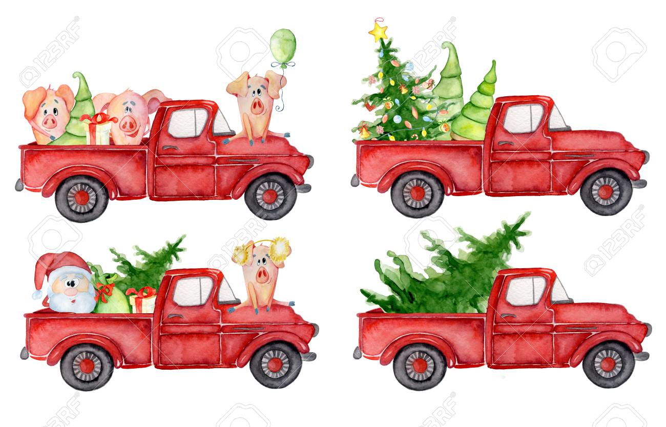 Red Christmas Truck.Stock Illustration
