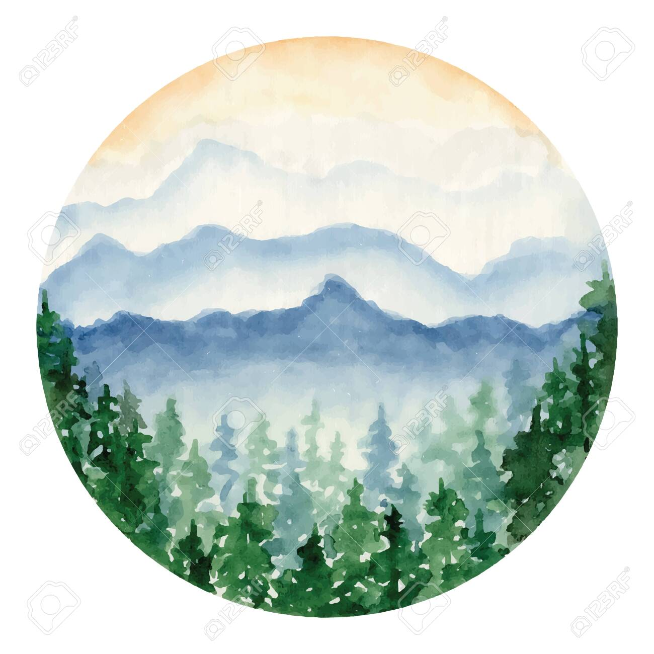 Watercolor Landscape With Pine And Fir Trees And Mountains Abstract Royalty Free Cliparts Vectors And Stock Illustration Image 136857585