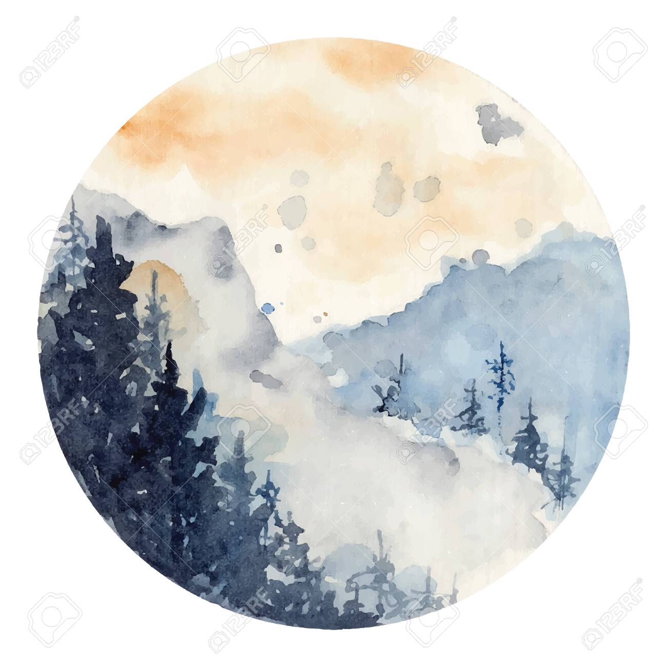 Watercolor Landscape With Pine And Fir Trees And Mountains Abstract Royalty Free Cliparts Vectors And Stock Illustration Image 136982557