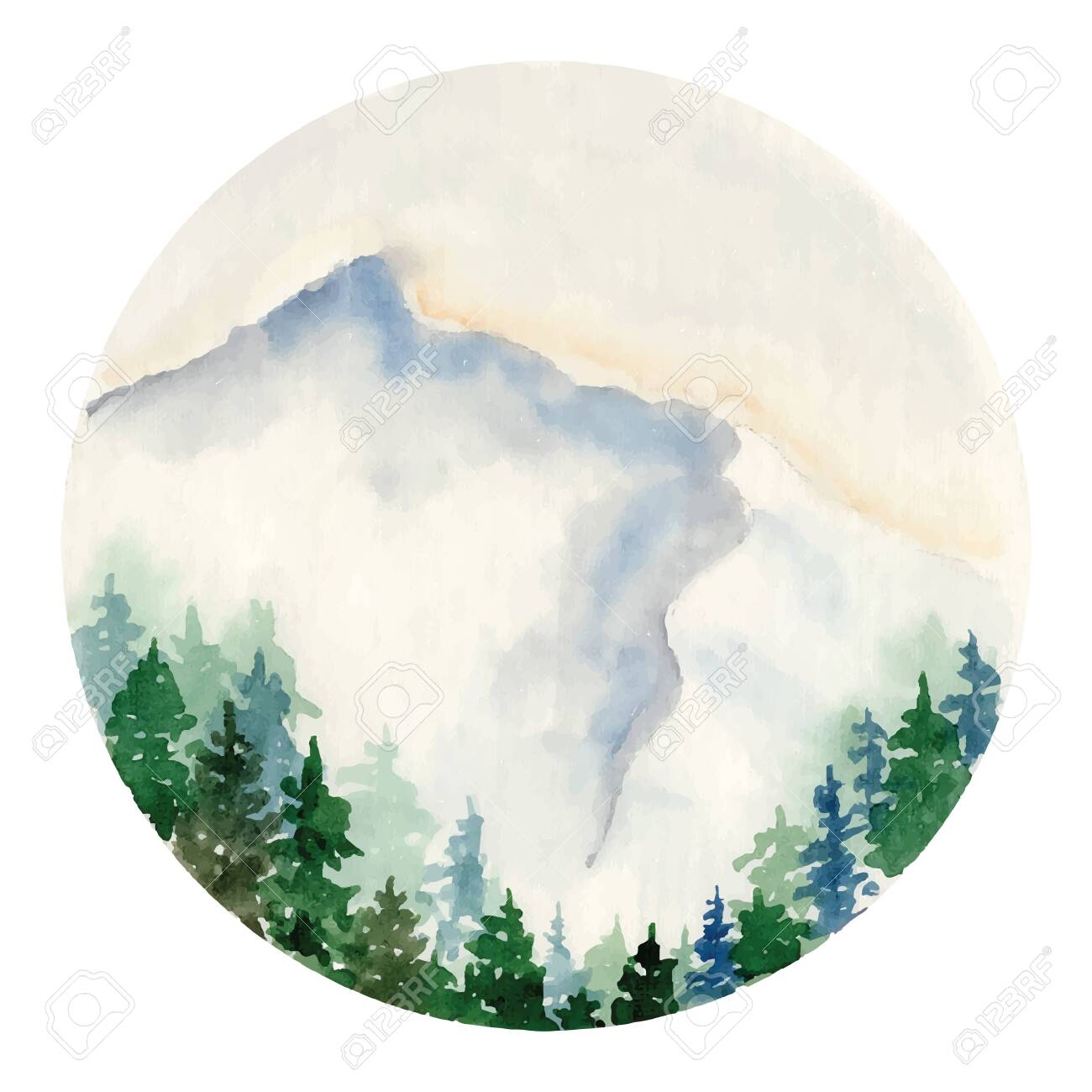 Watercolor Landscape With Pine And Fir Trees And Mountains Abstract Royalty Free Cliparts Vectors And Stock Illustration Image 136982564