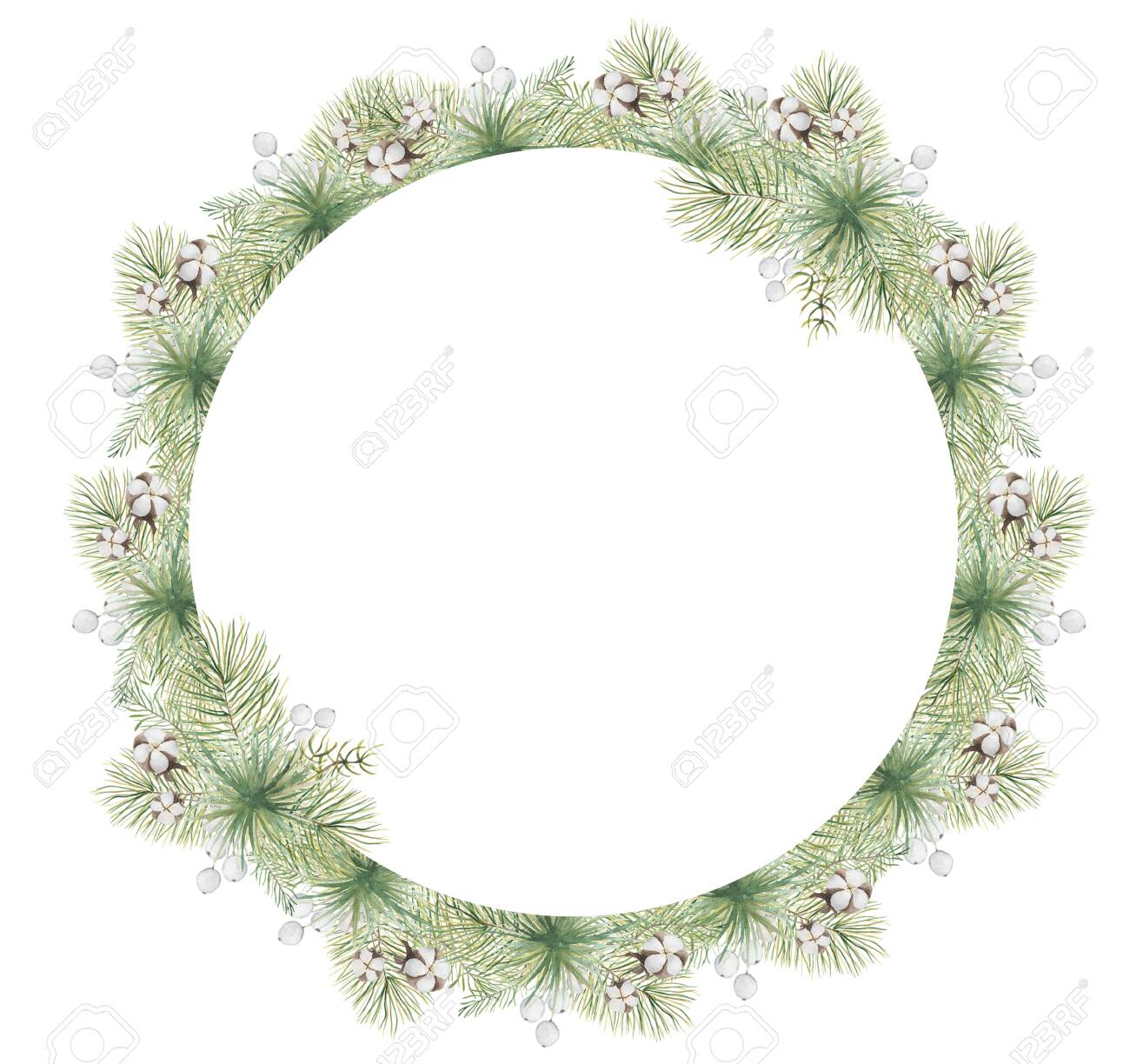 Watercolor Christmas borders with pine tree branches, berries and cotton hand drawn illustration isolated on white background - 154865364