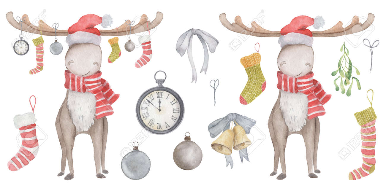 Watercolor Christmas elk in Santa hat and scarf with socks, toys and watches hanging from their horns. Illustration - 154865498