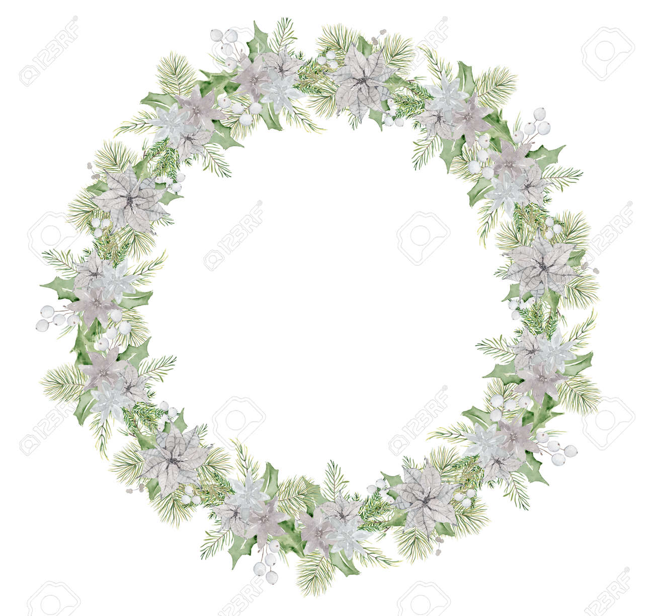 Watercolor Christmas wreath with pine tree branches and flowers hand drawn illustration isolated on white background - 154865512