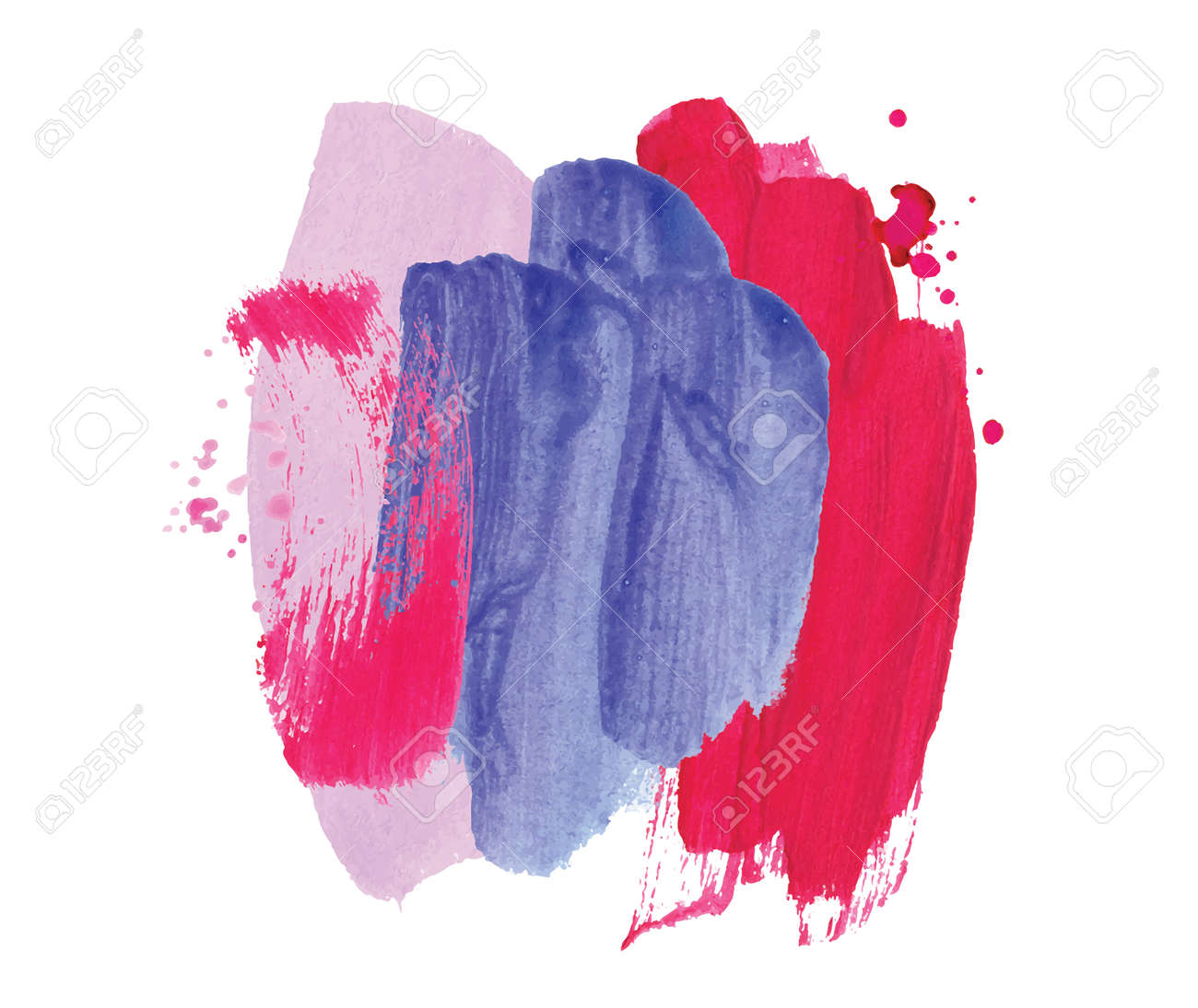 Absract design watercolor brush strokes composition hand drown - 169282015