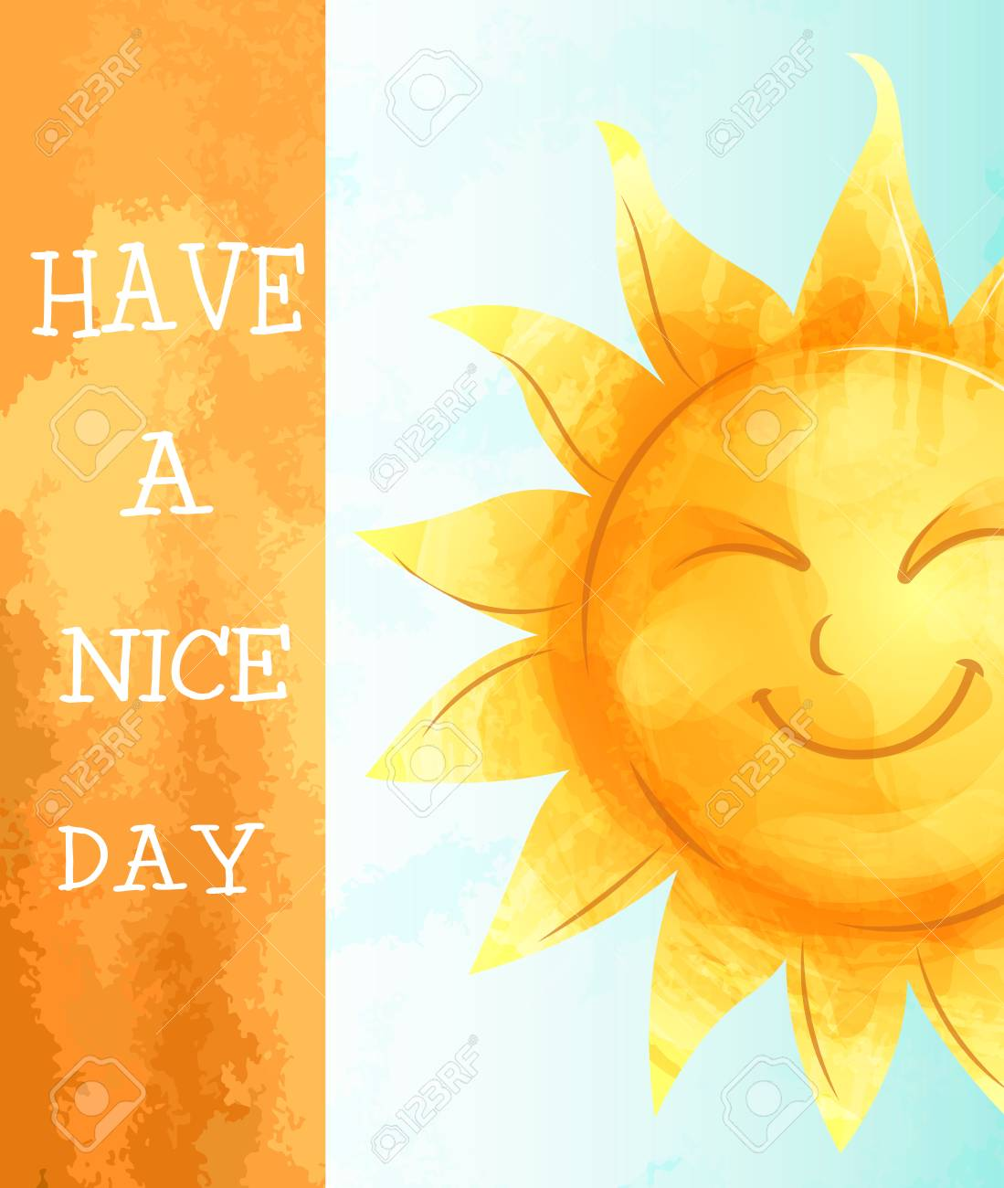 Vector image. Greeting card with a cartoon character sun. Imitation of watercolor. Have a nice day. - 112148978