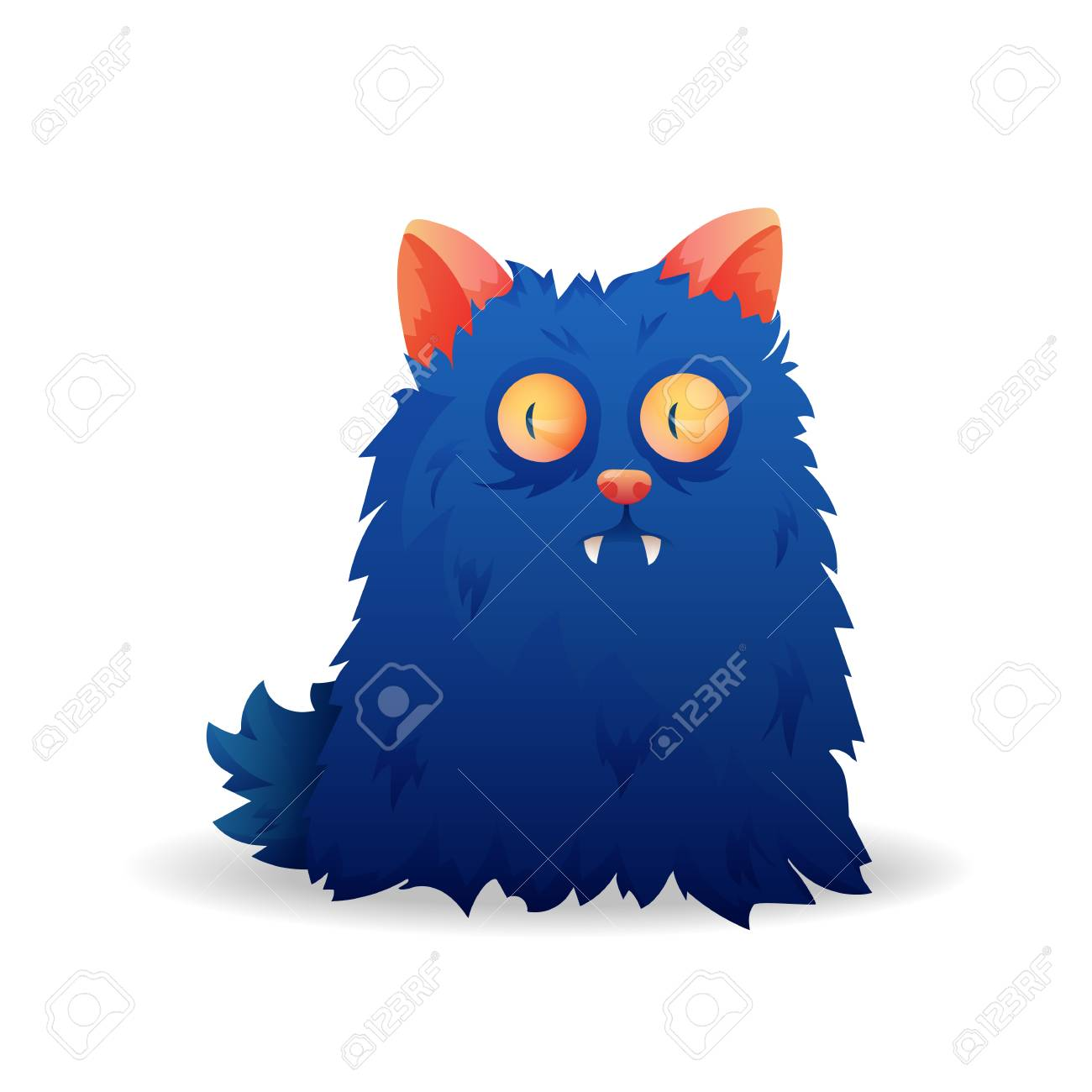 Vector image  Funny Halloween blue freak  Unusual cartoon character
