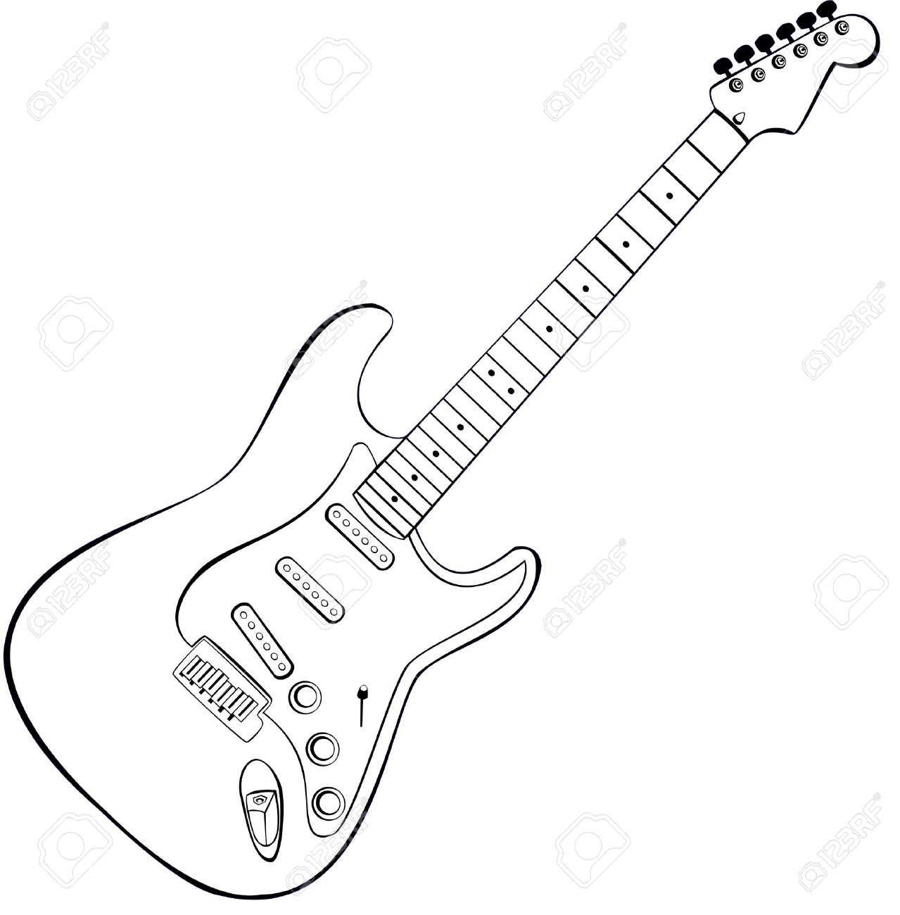 rock outline  vector draw of Electric Guitar Outline Clipart