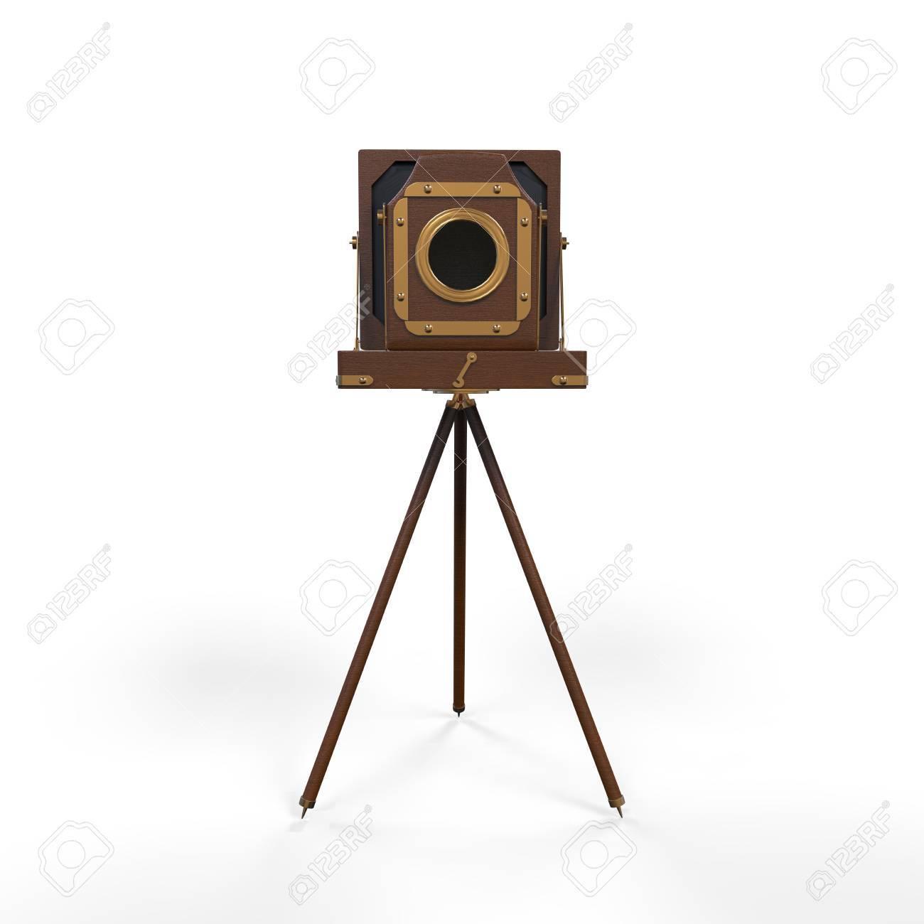 Wooden Classic Retro Camera on Tripod Stock Photo - 18260814