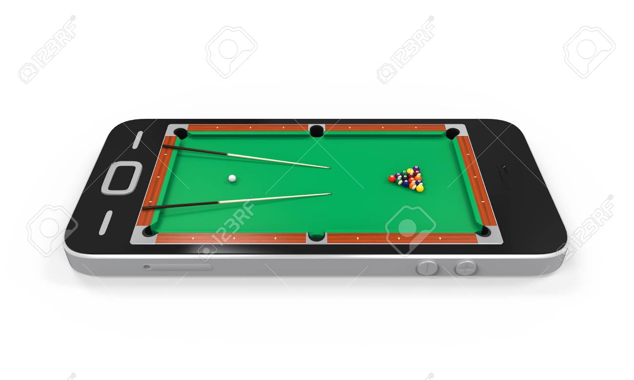 Pool Table In Mobile Phone Stock Photo Picture And Royalty Free - Mobile pool table