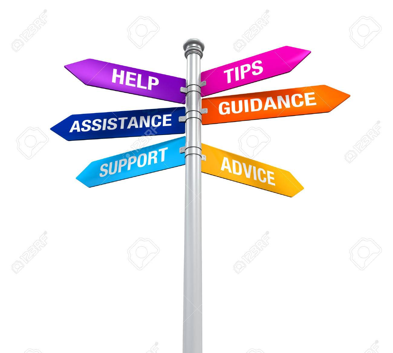 sign directions support help tips advice guidance assistance stock