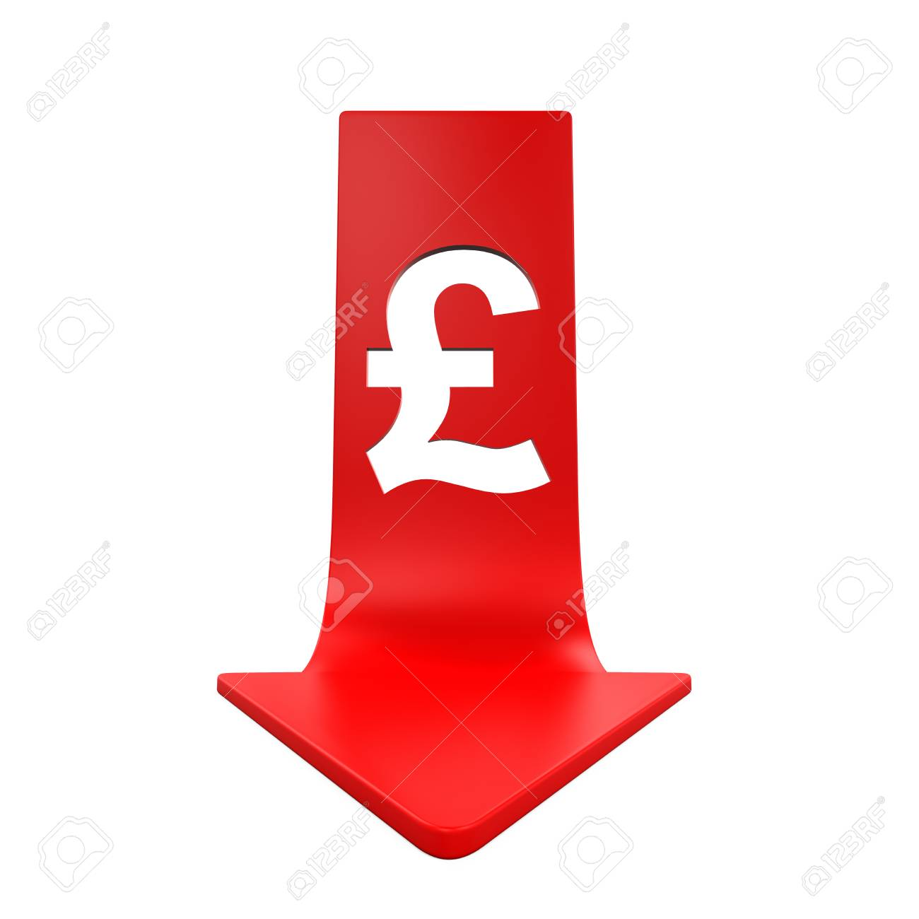 Great Britain Pound Symbol And Red Arrow Stock Photo Picture And