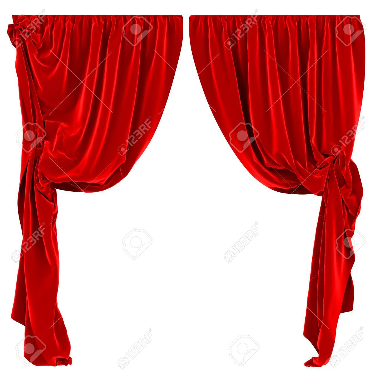 Rode Gordijnen Geïsoleerde Royalty-Vrije Foto, Plaatjes, Beelden En ...