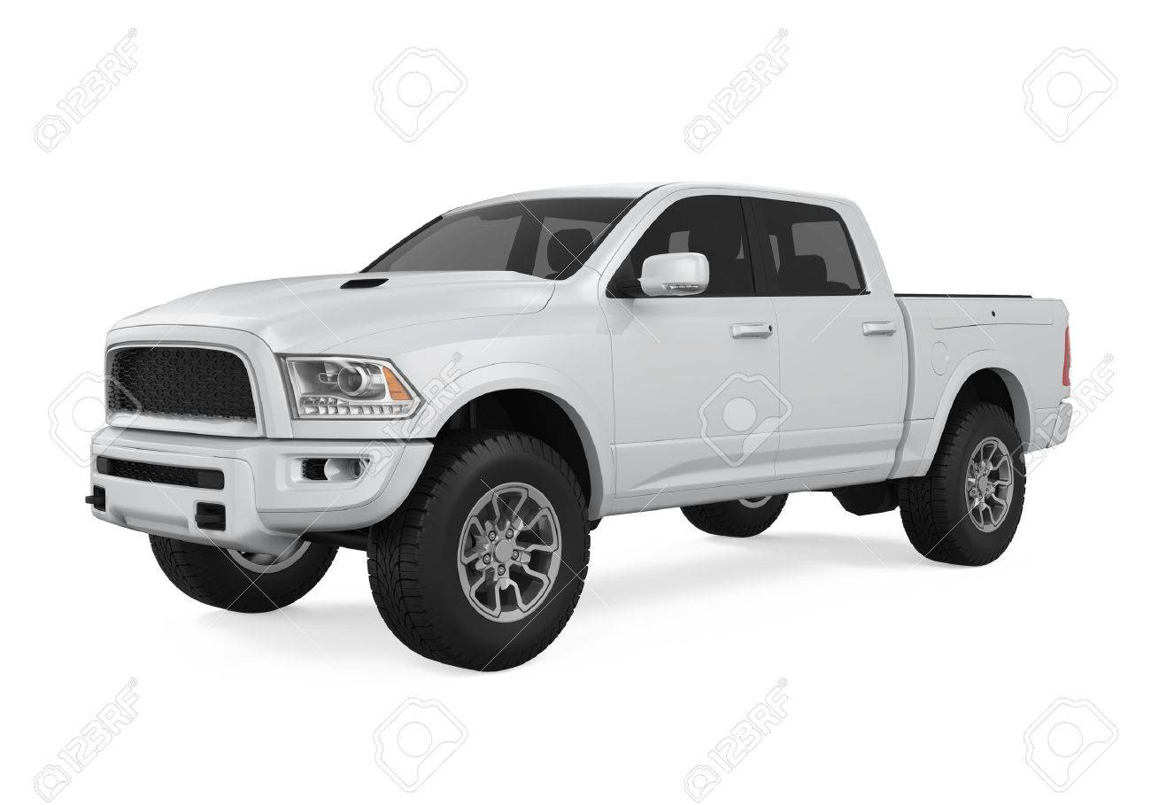 Silver Pickup Truck Isolated - 75156012