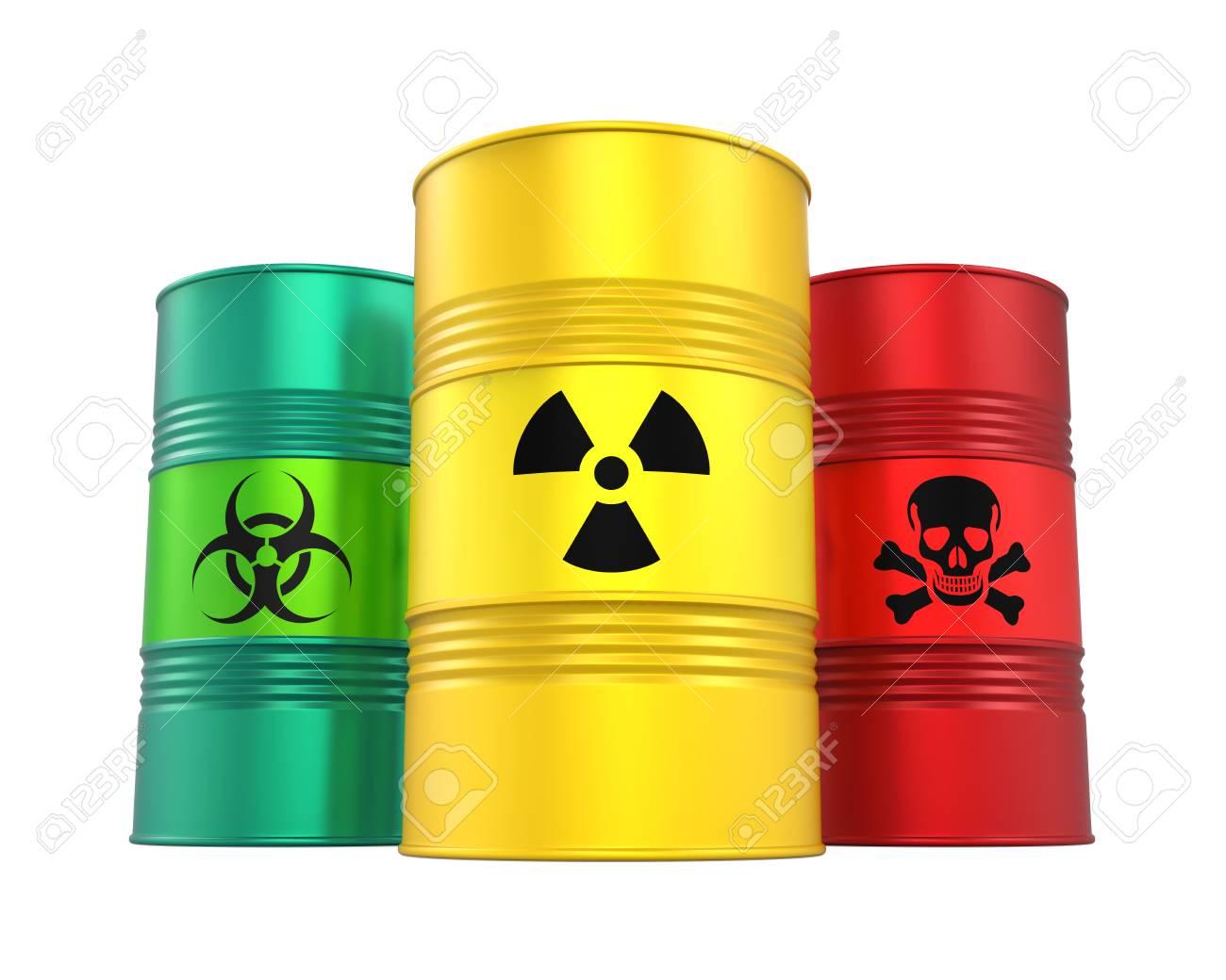 Biohazard, Radioactive and Poisonous Barrels Isolated - 80351200