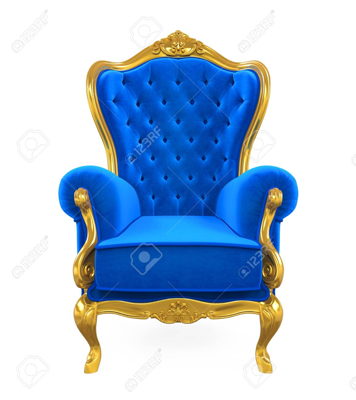 Blue Throne Chair Isolated - 82334250