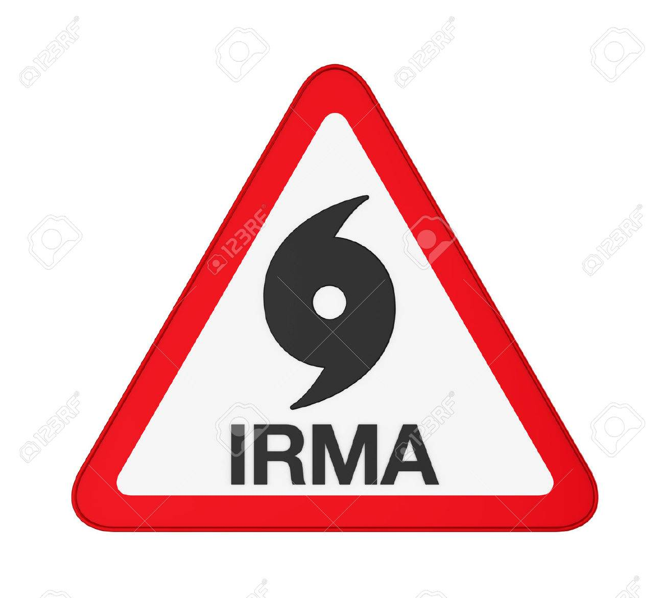 Hurricane Irma Warning Sign Isolated Stock Photo Picture And