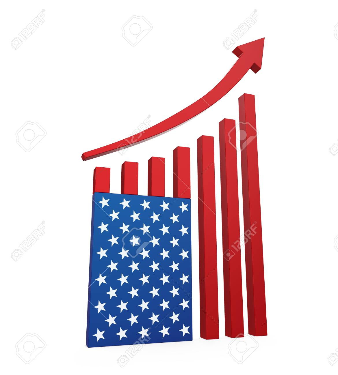 Chart American Flag with Arrow Up
