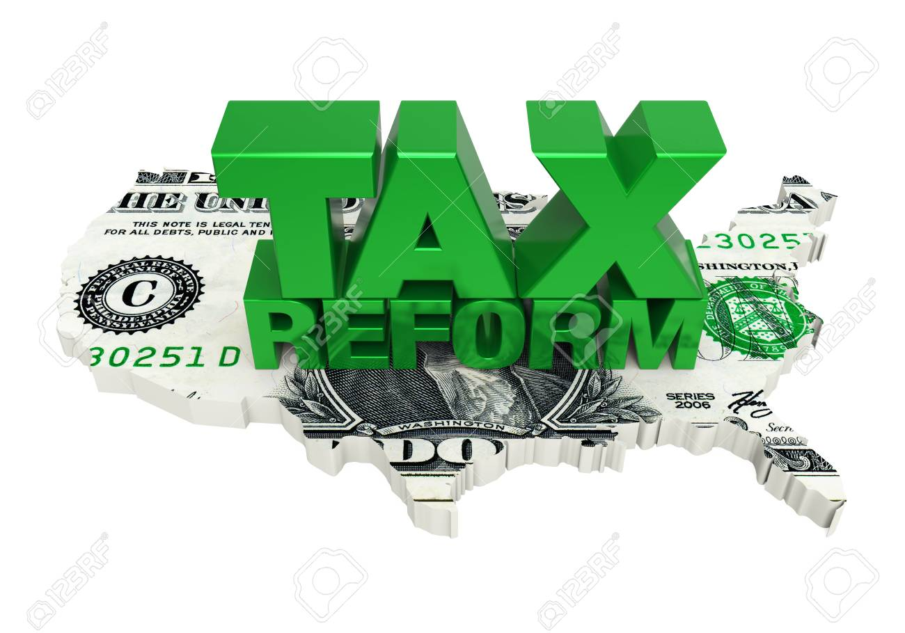 Tax Reform with United States Map Dollar - 91111813