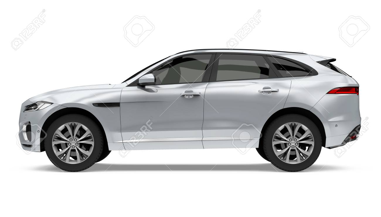 Silver SUV Car Isolated - 92286350