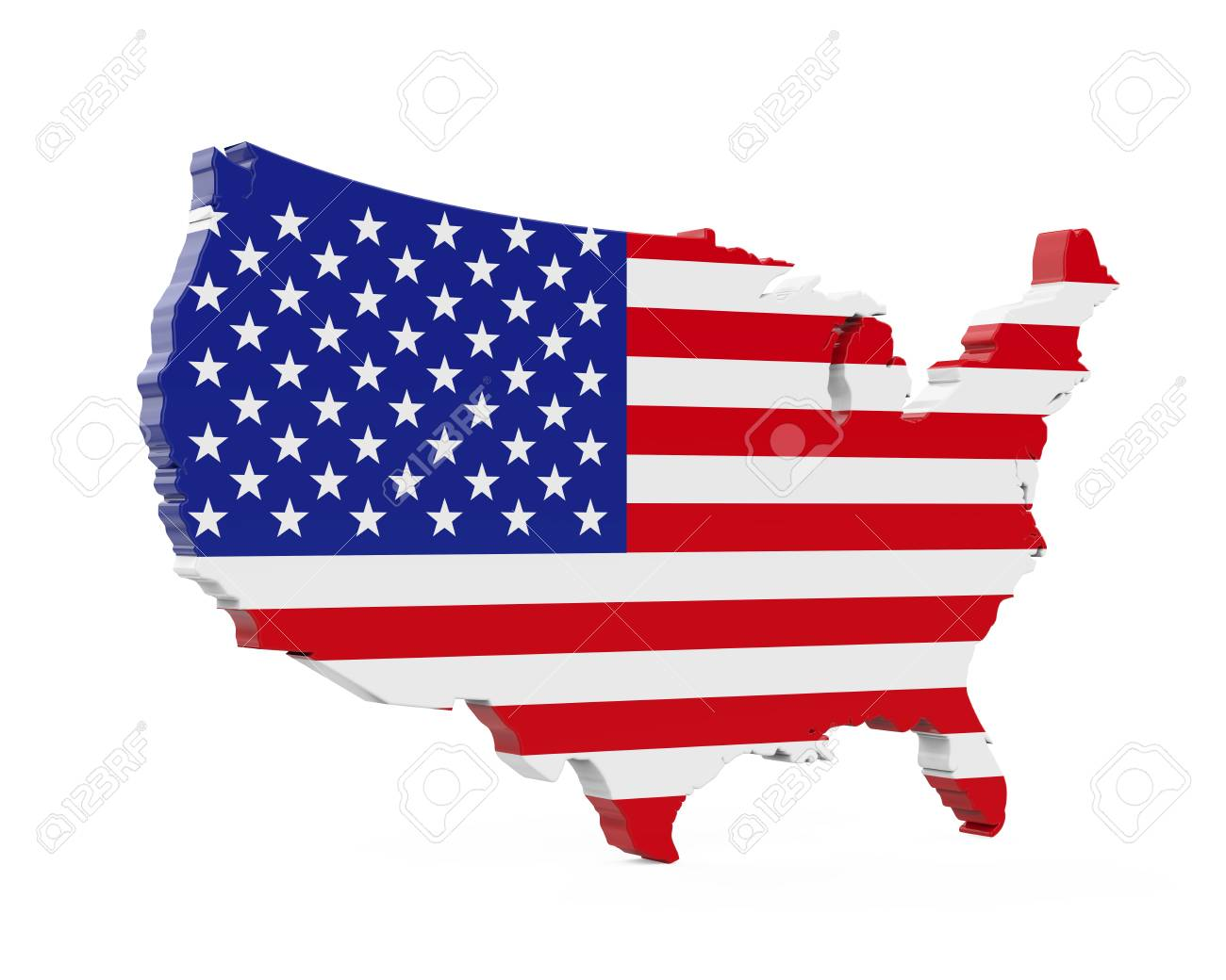 United States Of America Map Flag Stock Photo, Picture And Royalty ...