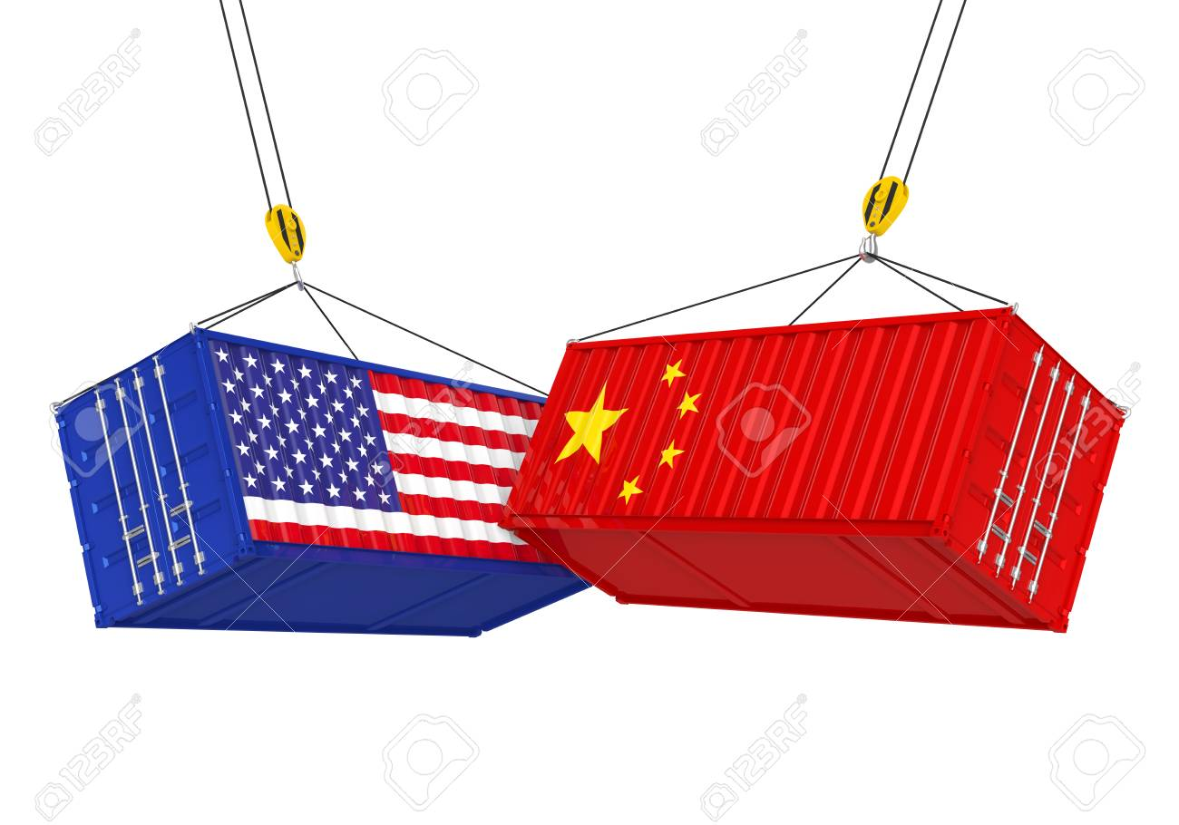United States and China Cargo Container Isolated. Trade war Concept - 98209039