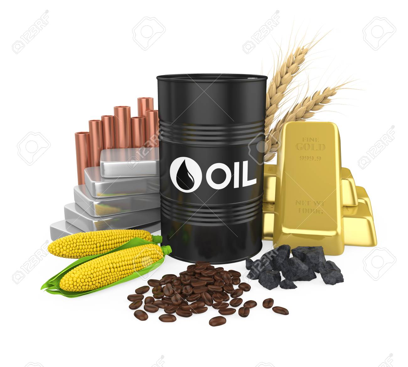 Commodities - Oil, Gold, Silver, Copper, Corn, Coal, Wheat and Coffee Beans - 103618597