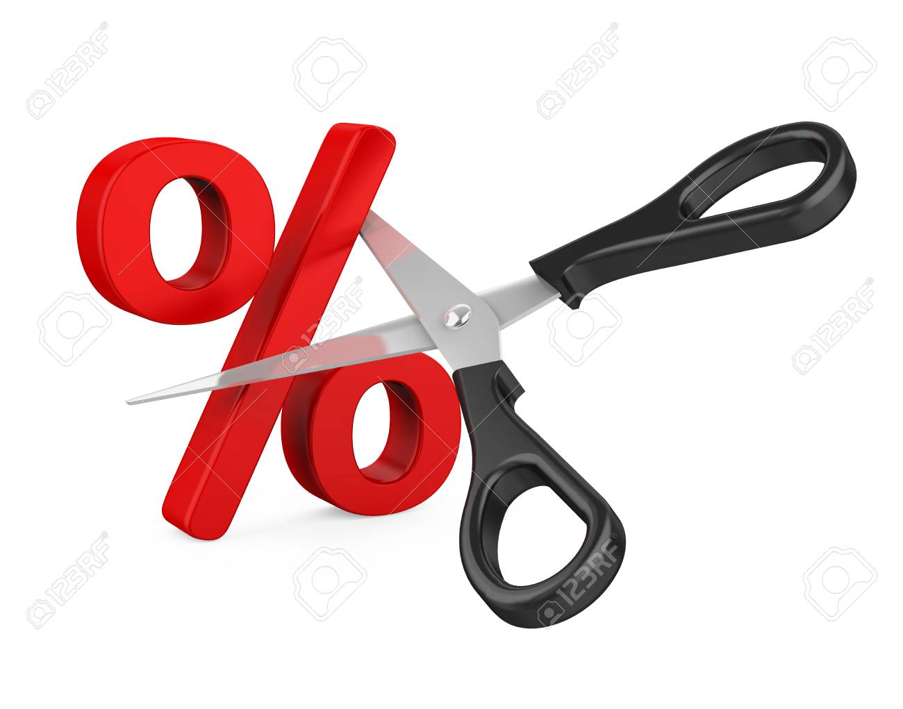 Percent Sign Cut and Scissors Isolated - 105471750
