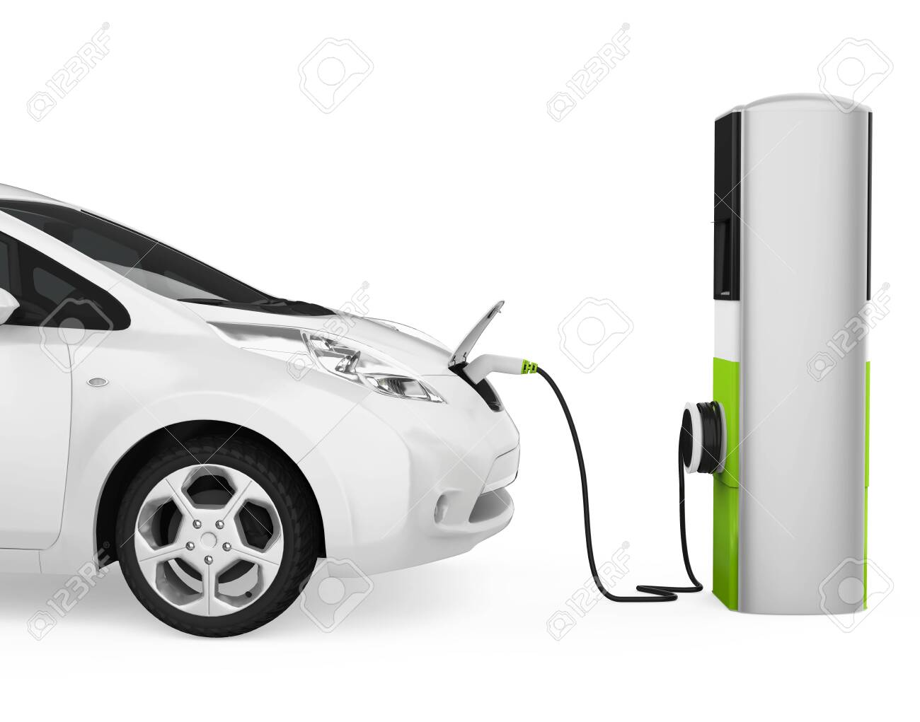 Electric Car in Charging Station Isolated - 136175642