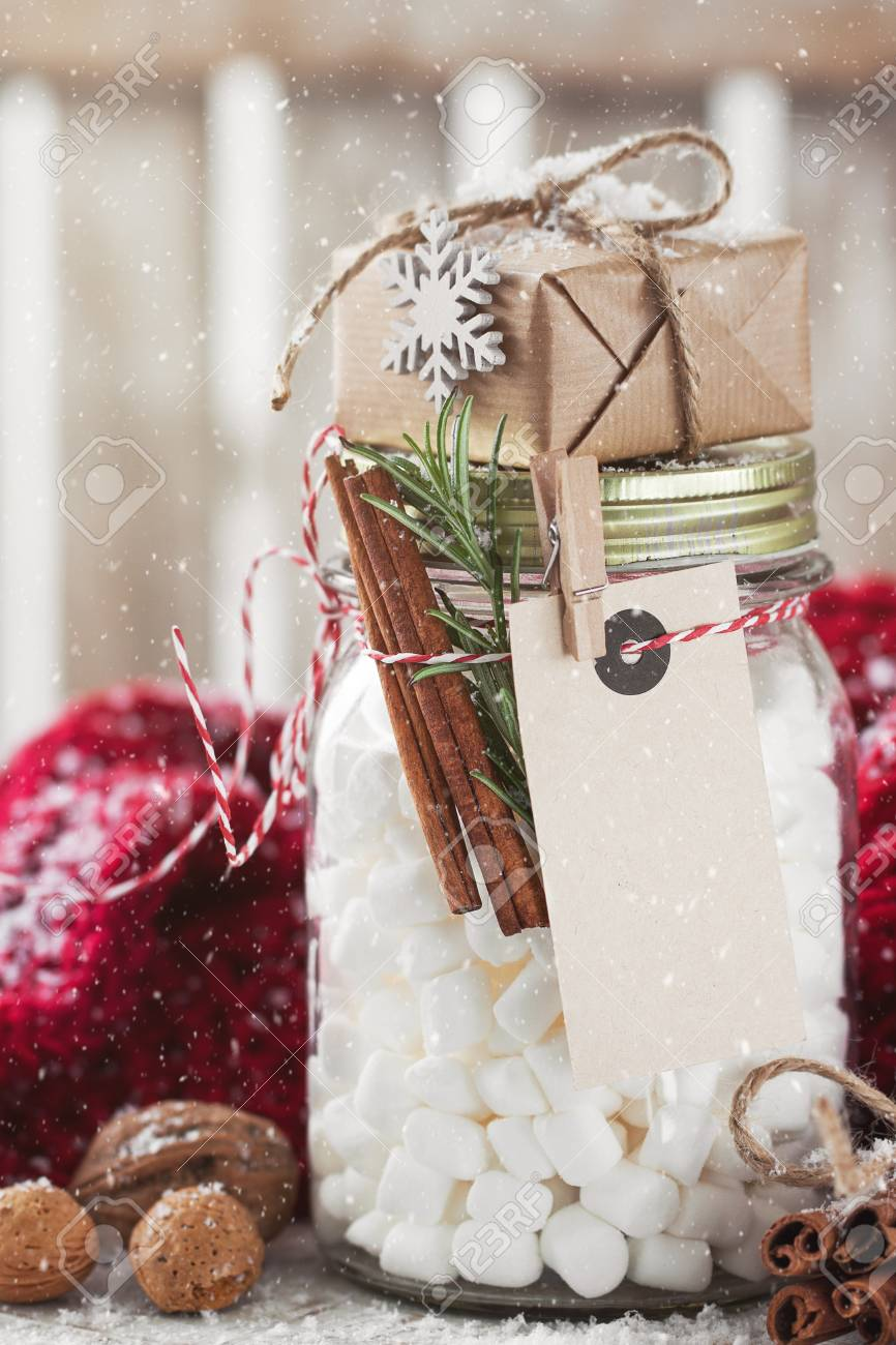Jar With Marshmallow And Small Gift With Christmas Decorations Stock Photo Picture And Royalty Free Image Image 66923808