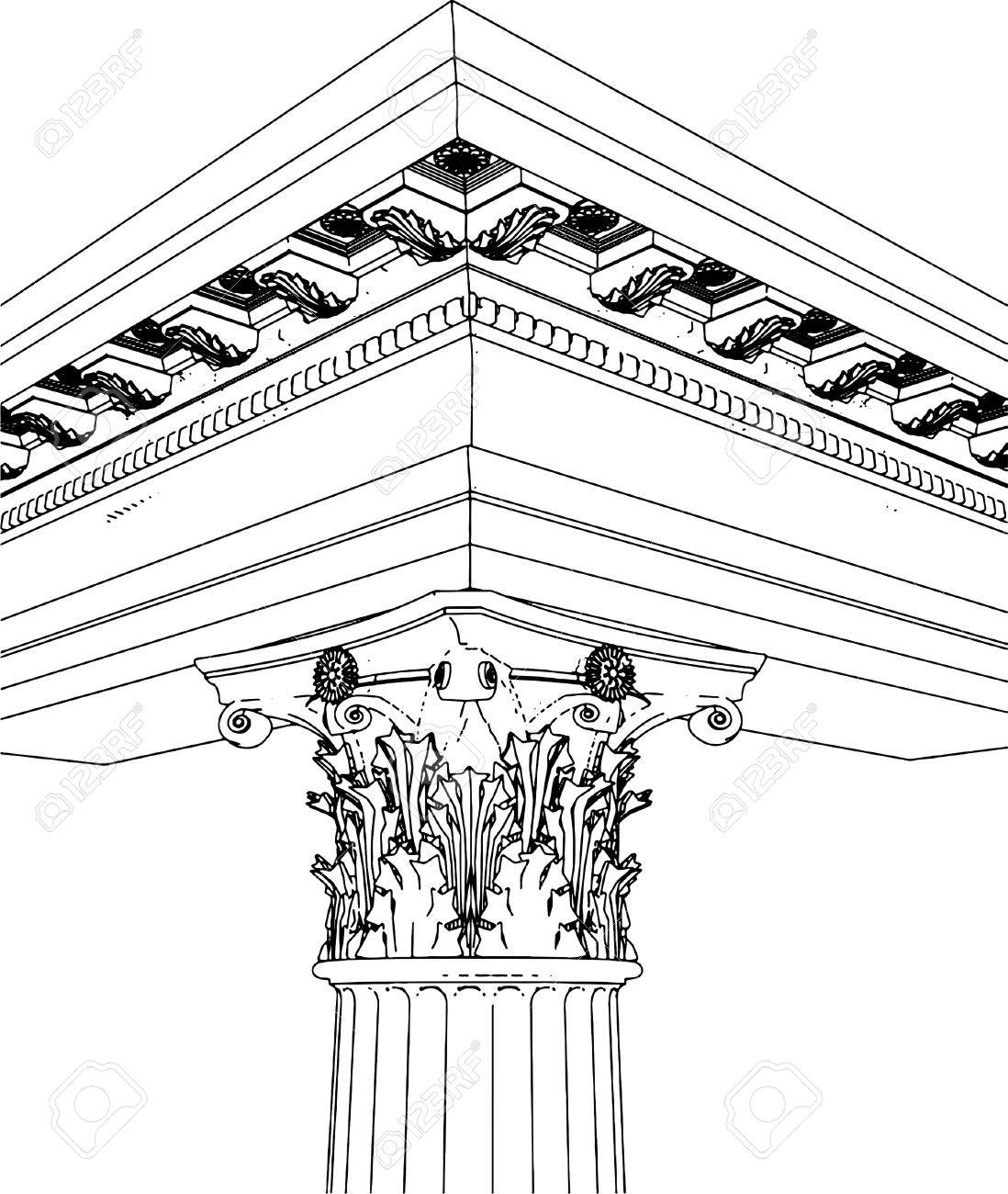 Greek Corinthian Column Stock Vector - 7909027