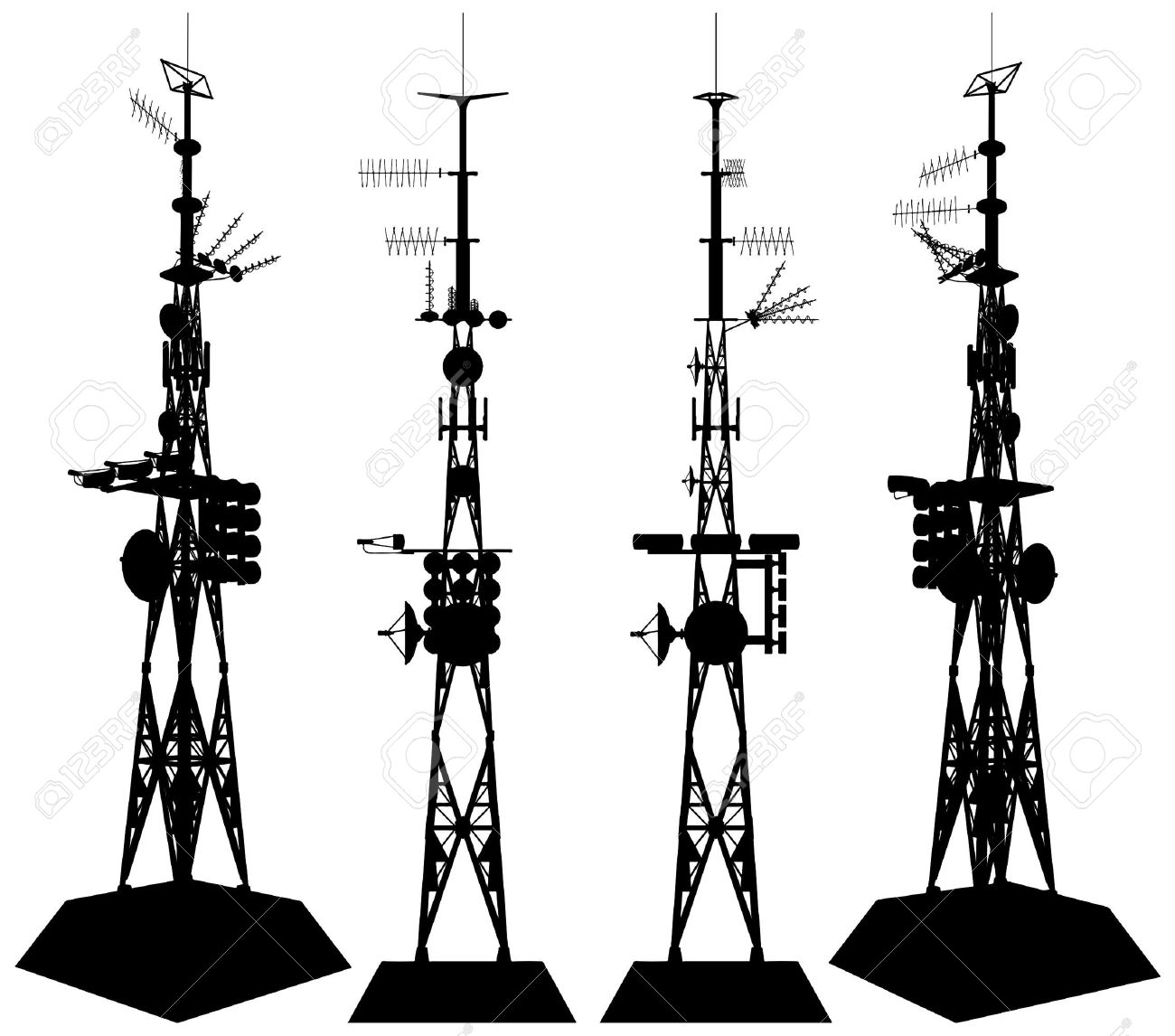 Broadcast Tower Vector Telecommunications Tower