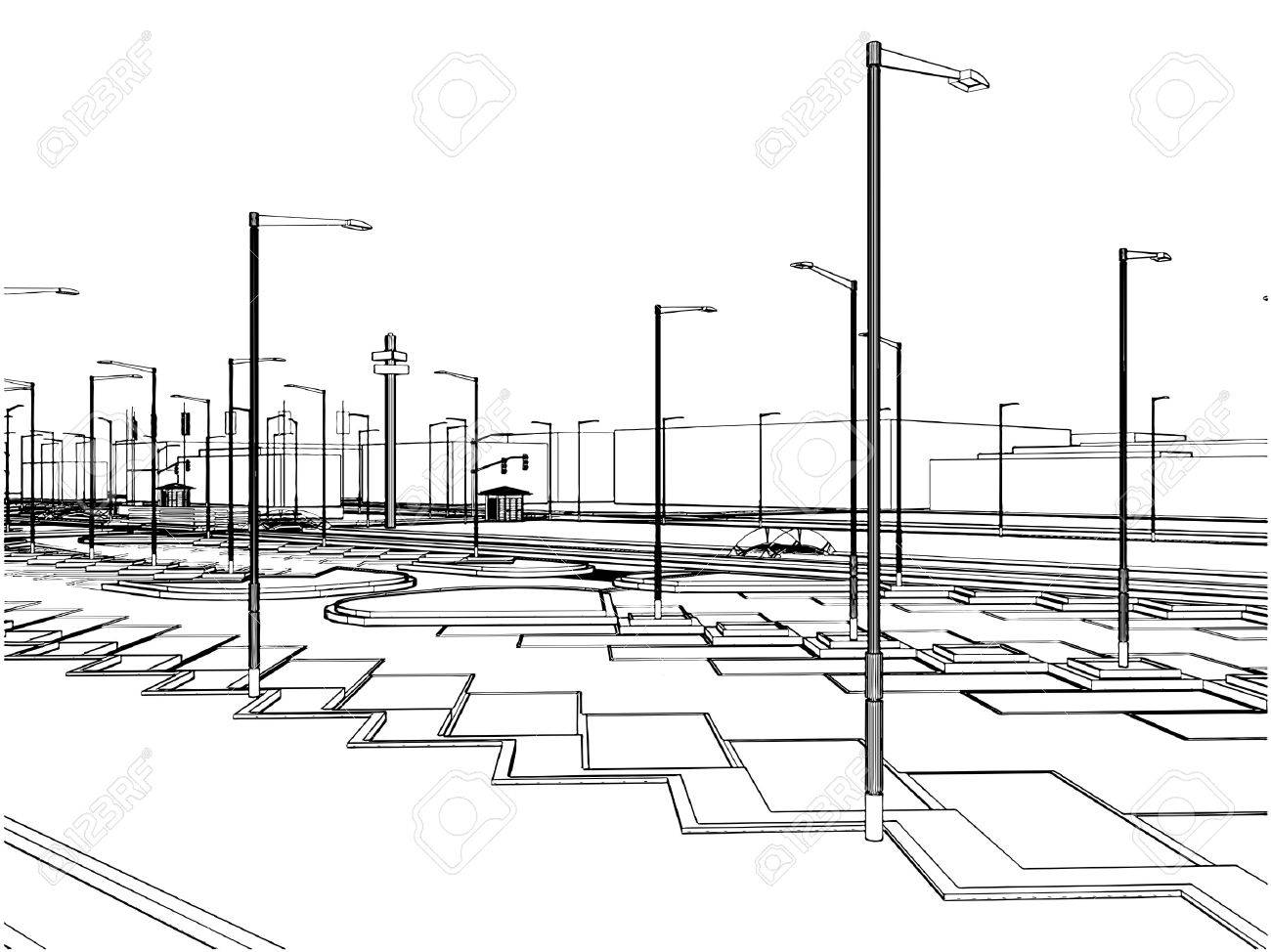 Outside Parking Stock Vector - 8069606