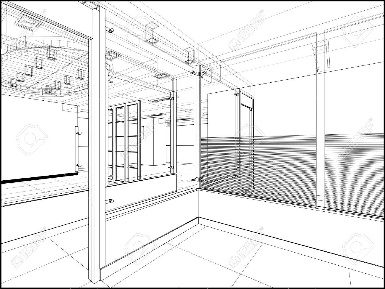 Abstract Interior Construction Stock Vector   12365998