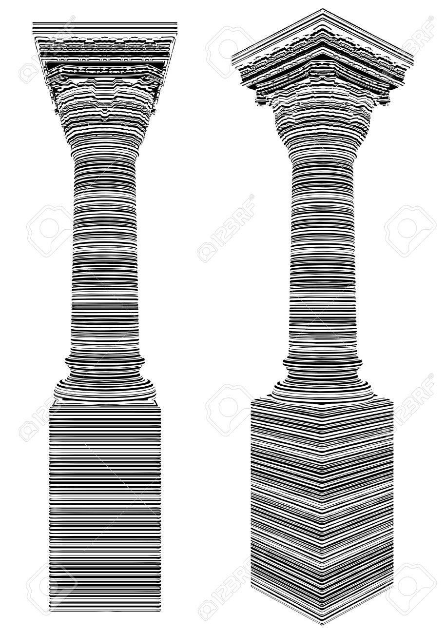 Column Covered With Bar Code Zebra Stripes Vector Stock Vector - 22735888