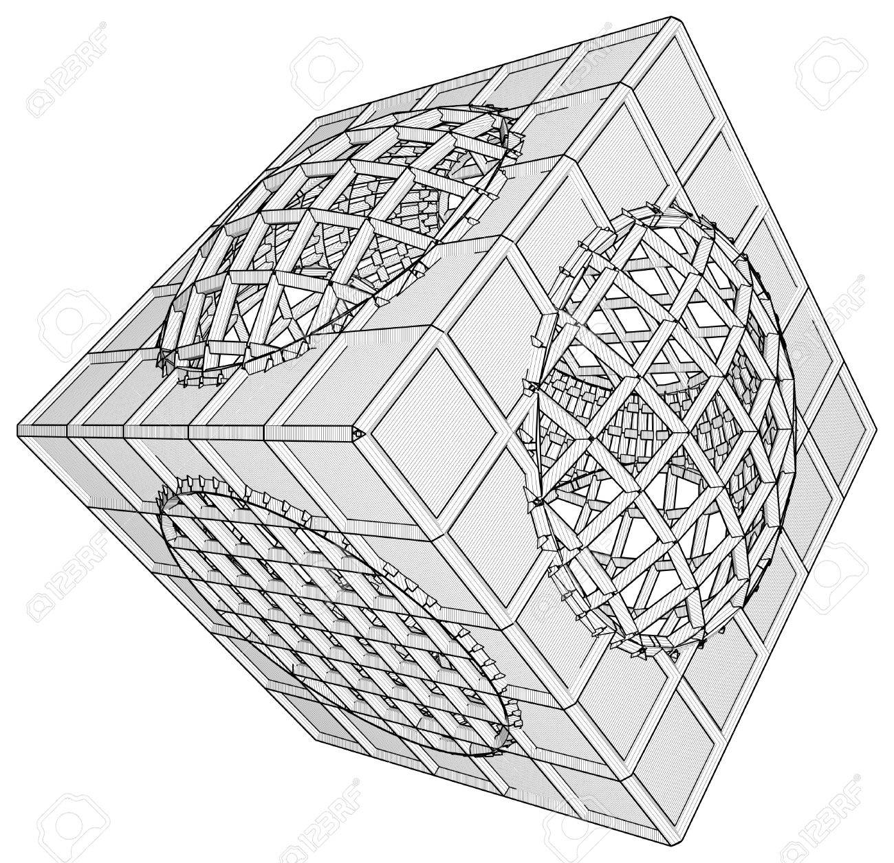 Cage Box Cube Vector Stock Vector - 25127590