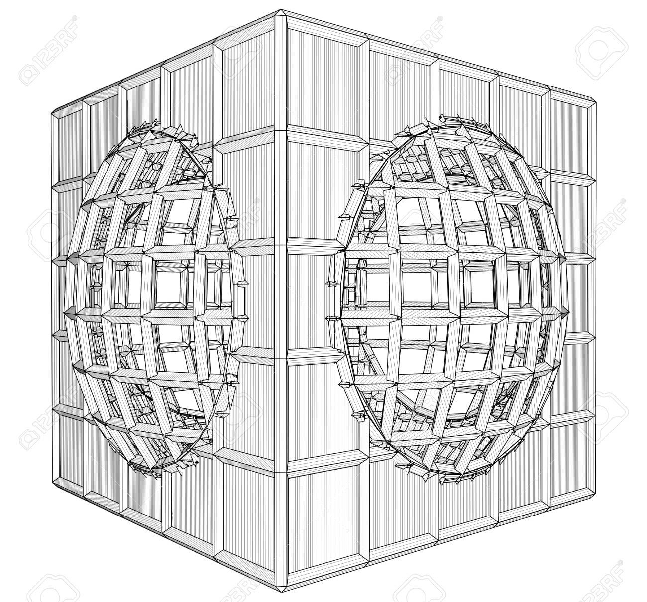 Cage Box Cube Vector Stock Vector - 25127592
