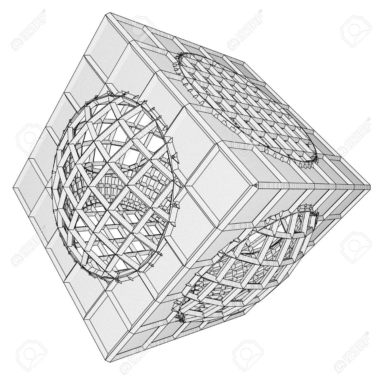 Cage Box Cube Vector Stock Vector - 25127593