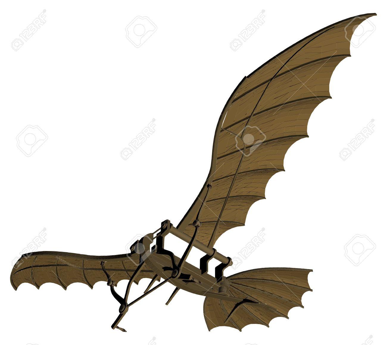 Flying Machine Based On The Leonardo da Vinci Antique Light Hang Glider Vector - 46909212