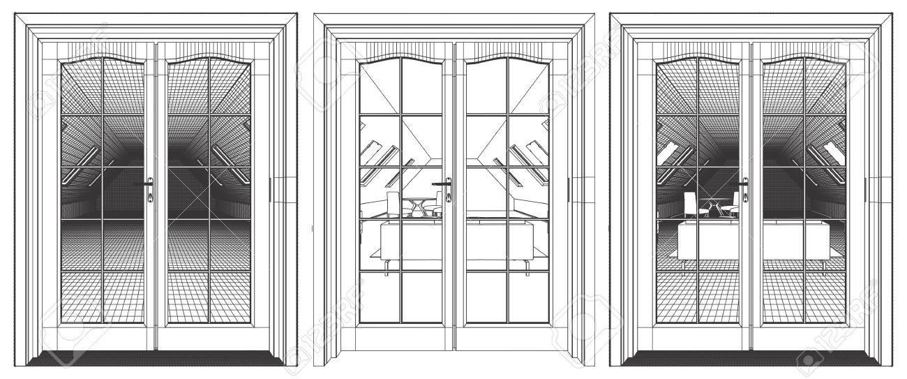 Loft Interior View Through The Terrace Door Stock Vector   55364361