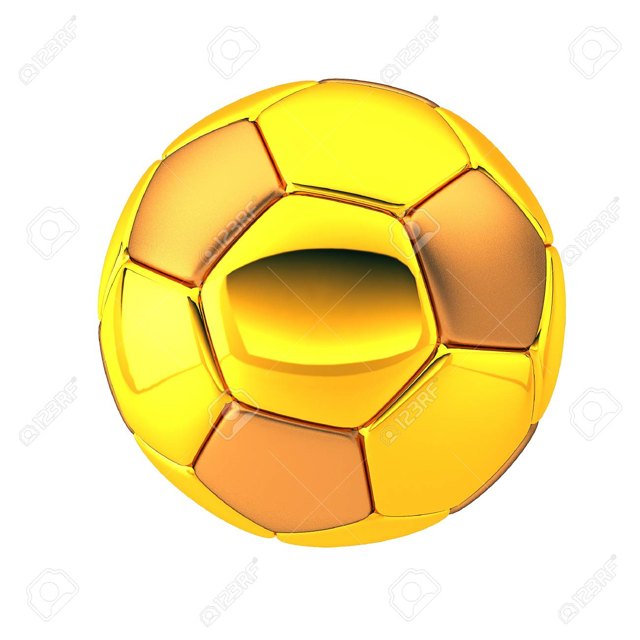 2ad9f0310 3D Illustration Of Golden Football And Soccer Ball. Patches are made from  the Gold material