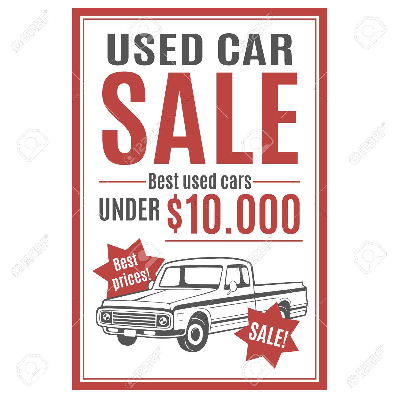Vector Template For Used Car Sale Advertisement With Pickup