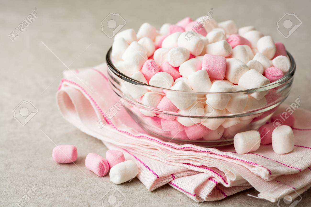 White And Pink Mini Marshmallows In Glass Bowl On Stone Background Marshmallow Stock Photo Selective Focus